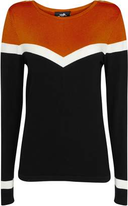 Wallis Rust Colour Block Chevron Jumper