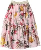Floral Print Cotton Muslin Long Skirt