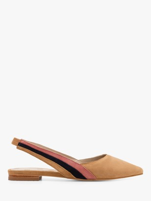 Boden Louisa Suede Slingback Flat Court Shoes, Camel/Multi