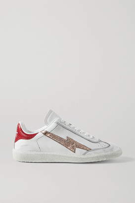Isabel Marant Bryce Distressed Metallic-trimmed Snake-effect And Smooth Leather Sneakers - White