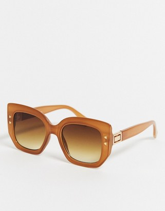 Jeepers Peepers oversized square sunglasses in orange