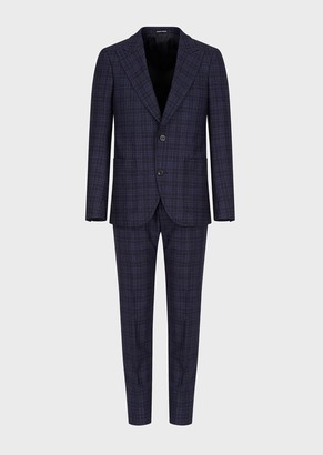 Emporio Armani Single-Breasted, Prince Of Wales Flannel Suit