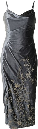 Marchesa Notte Embroidered-Floral Velvet Dress