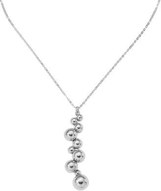 Italian Silver Graduated Beaded Necklace