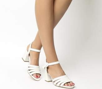 Office Myla Strappy Mid Block Heels White Leather