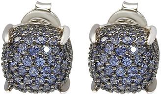 LeVian Suzy Silver 1.56 Ct. Tw. Diamond & Sapphire Cluster Studs