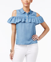 Thalia Sodi Ruffled Cold-Shoulder Chambray Blouse, Created for Macy's