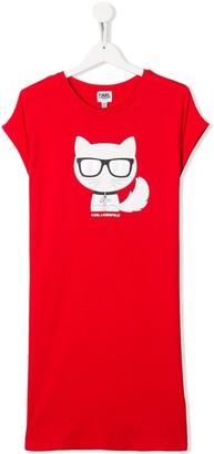 Karl Lagerfeld Paris TEEN cat print T-shirt dress