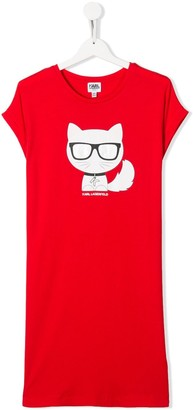 Karl Lagerfeld Paris TEEN cat print T-shirt dress
