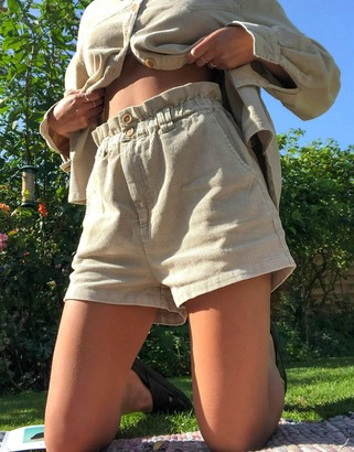 Emory Park paperbag waist shorts in cream corduroy co-ord