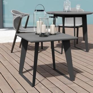 Modloft Amsterdam Outdoor Side Table in White Sand Concrete