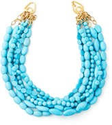 Moon and Lola Multi-Strand Turquoise Magnesite Necklace & Gold-Plated Script Monogram Pin