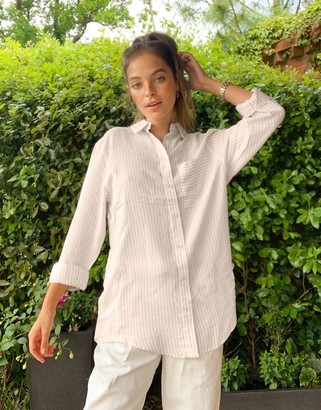 New Look stripe detail shirt in off white