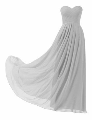 HUINI Women's Bridesmaid Dresses Long Prom Party Dress Wedding Gowns Chiffon Sweetheart Silver UK12