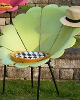 Mackenzie Childs MacKenzie-Childs Chartreuse Daisy Outdoor Chair with Cushion
