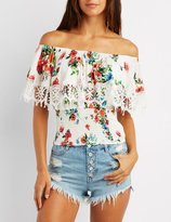 Charlotte Russe Floral Crochet-Trim Off-The-Shoulder Top
