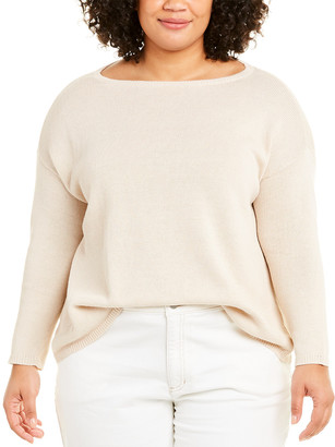 Eileen Fisher Plus Bateau Neck Linen-Blend Sweater