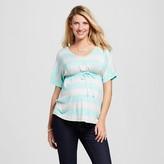 MaCherie Maternity Stripe Print Tie Short-Sleeve Top