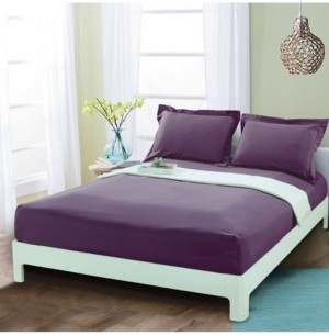 Elegant Comfort Silky Soft Single Fitted Sheet King Purple Bedding