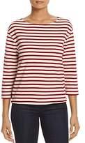 Three Dots Stripe Boat-Neck Top