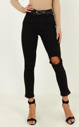 Showpo Bobbi Jeans in washed black denim - 4 (XXS) Ripped Jeans
