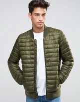 Asos Quilted Bomber Jacket With Logo In Khaki
