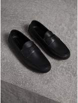 Burberry Grainy Leather Loafers With Engraved Check Detail , Size: 44.5, Black