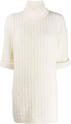 Courreges ribbed knit turtleneck dress