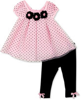 Rare Editions 2-Pc. Flocked-Dot Top and Leggings Set, Baby Girls (0-24 months)