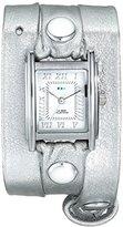 La Mer Women's LMMTW1002 Silver-Tone Watch With Metallic Leather Wraparound Band