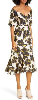 Whistles Ebba Tropical Floral Silk Midi Dress