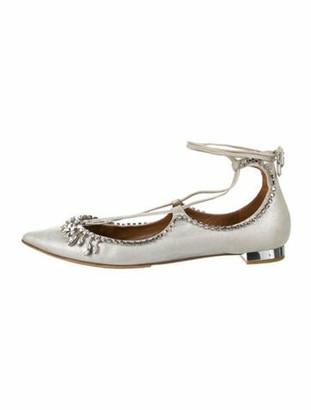 Aquazzura Crystal Embellishments Flats Silver