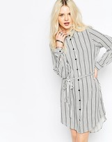 B.young Mixed Stripe Shirt Dress