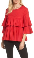 Halogen Women's Tiered Pleat Poplin Top