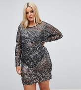 Naanaa Plus Sequin Dress With Knicker Short Lining