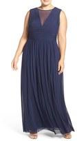 Marina Plus Size Women's Illusion V-Neck Sleeveless Gown
