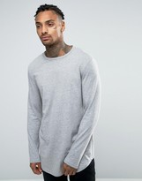 Asos Relaxed Longline Long Sleeve T-Shirt With Curve Hem In Gray