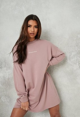 Missguided Mauve Brushed Back Basic Sweater Dress