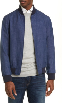 eidos Trim Fit Linen & Wool Bomber Jacket