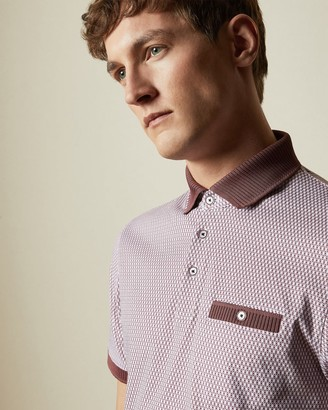 Ted Baker Cotton Geo Print Polo Shirt
