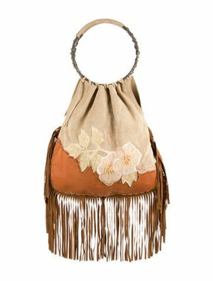Valentino Embroidered Leather & Suede Handle Bag Brass