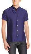J. Lindeberg Men's Ward Cotton Linen Short Sleeve Button Down Shirt