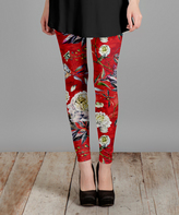 Lily Red & White Floral Slim-Fit Pants - Plus Too