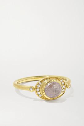 Brooke Gregson Ellipse Halo 18-karat Gold, Diamond And Sapphire Ring