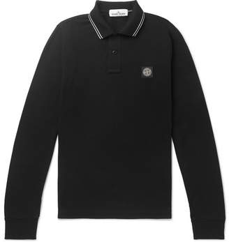 Stone Island Slim-Fit Contrast-Tipped Stretch-Cotton Pique Polo Shirt