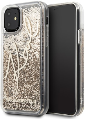 Karl Lagerfeld Paris Transparent Glitter Signature iPhone 11 Case