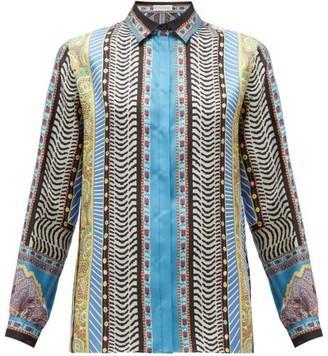 Etro Paisley-print Silk-faille Blouse - Womens - Blue Multi