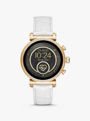 Michael Kors Sofie Heart Rate Gold-Tone and Embossed Silicone Smartwatch