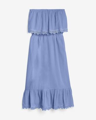 Express Strapless Lace Trim Midi Dress