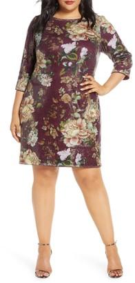 Vince Camuto Floral Sequin Shift Dress (Plus Size)